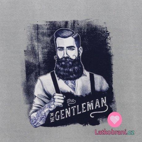 Teplákovina panel vousatý Džentlmen s tetováním na šedé
