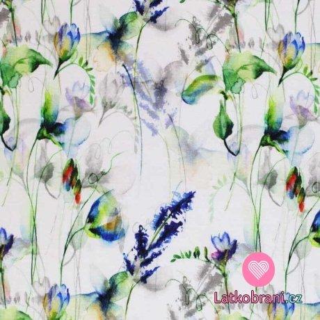 Viskózový úplet potisk malované divoké květiny na bílé