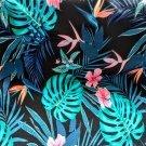 Teplákovina potisk tropické listy a květy v růžové a tyrkysové barvě na černé