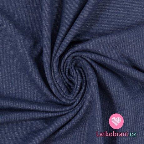 Teplákovina jeans efekt modrá