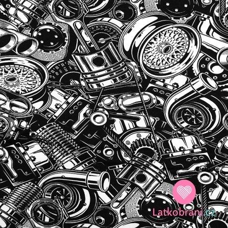 Teplákovina potisk náhradní automobilové díly na černé