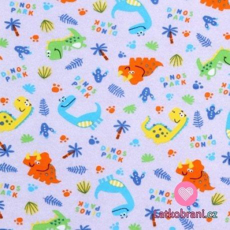 Bavlněný úplet barevní dinosauři na šedé