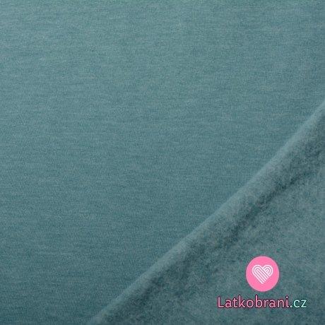 Teplákovina počesaná zaprášená modrá melé
