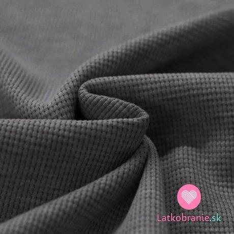 Bavlněný vaflový úplet jednobarevný tmavě šedé melé
