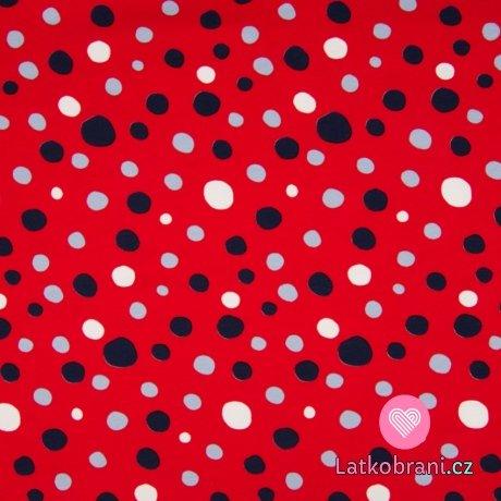 Úplet potisk nepravidelné puntíky na červené