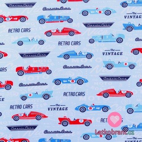 Bavlněný úplet retro auta na světle modré