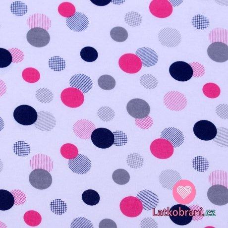 Bavlněný úplet růžová a modrá kolečka na bílé