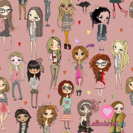 Úplet potisk trendy dívky na růžové