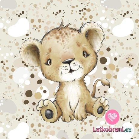 Bavlněný panel roztomilý lvíček 40x40 cm