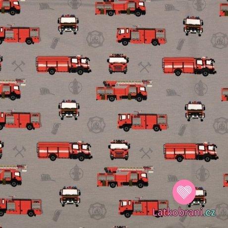 Úplet potisk hasičská auta na šedé