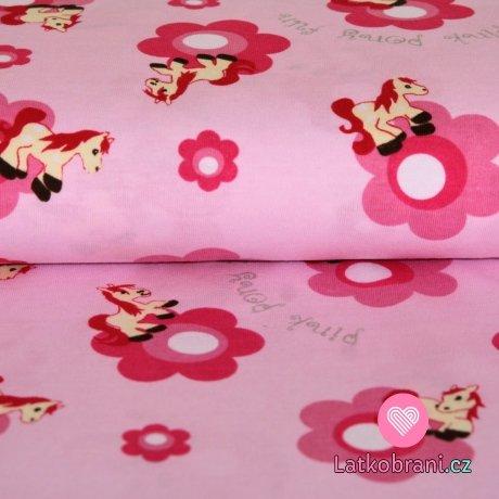 Úplet růžový poník s kytičkou na růžové