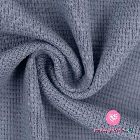 Bavlněný vaflový úplet jednobarevný jeansově modrý