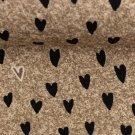 Teplákovina potisk srdíčka na hnědém taupovém podkladu jeans efekt