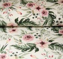 Teplákovina šípková růže s listy na bílé