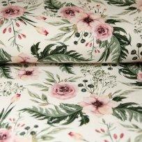 Teplákovina šípková růže s listy na smetanové
