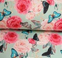 Teplákovina POČESANÁ motýl na růžích na modrém podkladu