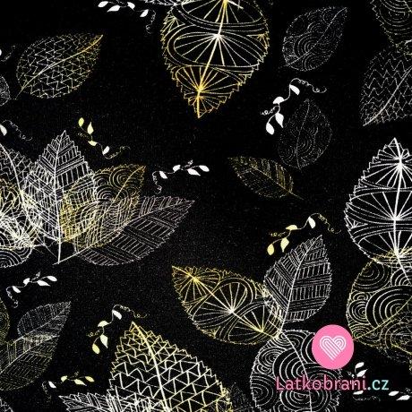 Teplákovina potisk pozlacené obrysy listů na černé