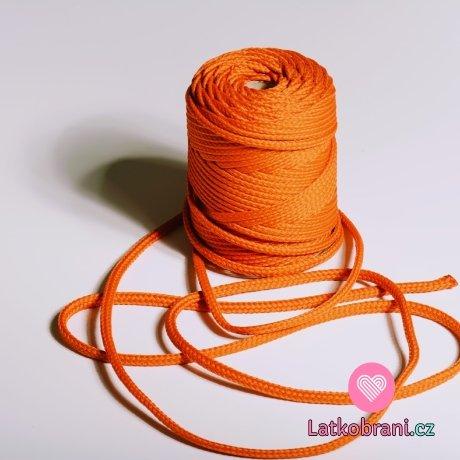Šňůra kulatá oděvní PES 7 mm rezavě oranžová
