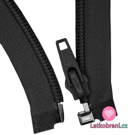 Zip spirálový dělitelný černý 45 cm