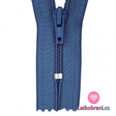 Zip spirálový nedělitelný jeansově modrý 18 cm