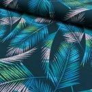 Teplákovina potisk palmové listy na modré
