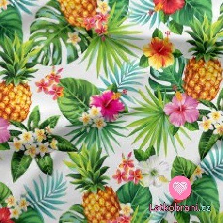Bavlněné plátno ananasy a květy na bílé