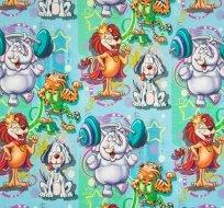 Úplet kreslené lev, slon, pes jak posilují