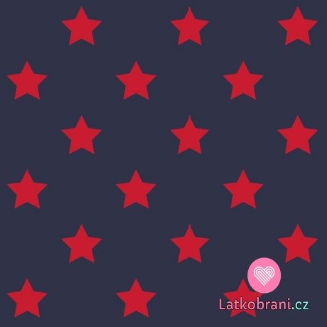 Úplet potisk drobné červené hvězdičky na tmavě modré