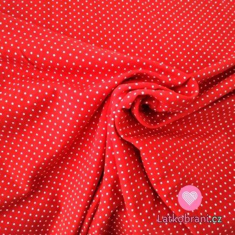 Úplet potisk drobný puntíček bílý na červené 160 g