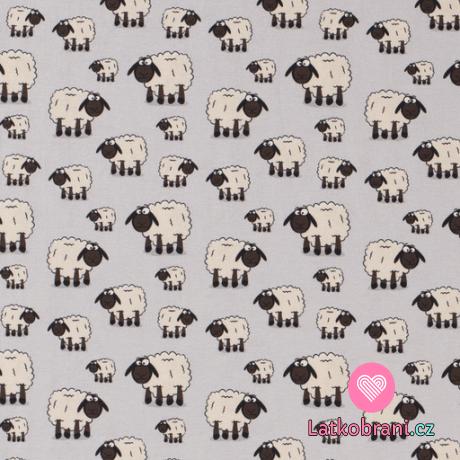 Úplet potisk ovečky na šedé