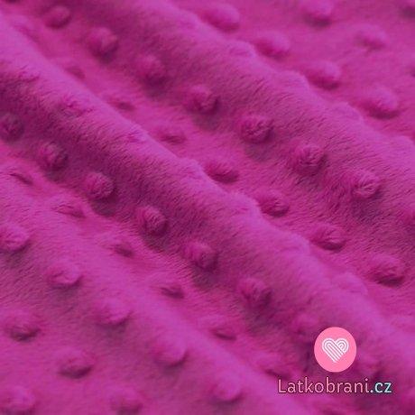 Minky fleece - bublinky fuchsiová růžová