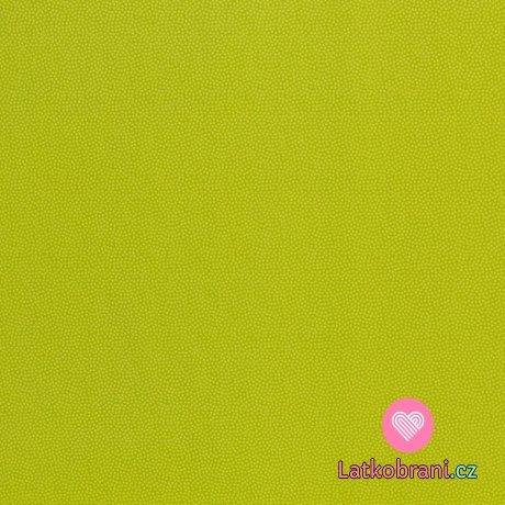 Bavlněné plátno drobné zelené puntíky na limetkové
