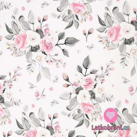 Úplet potisk kytice růží na bílé, větší design