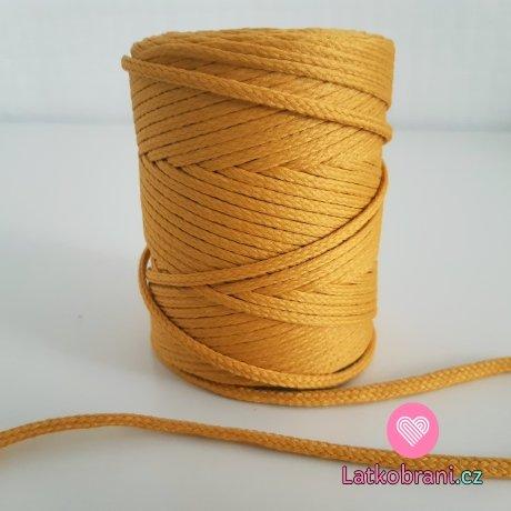 Šňůra oděvní kulatá  PES 4 mm žlutá jantarová