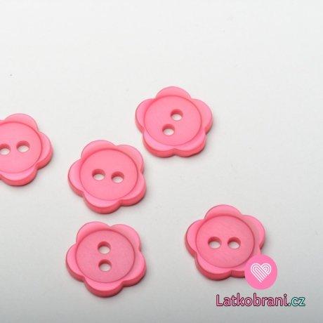 Knoflík dětský, kytička tmavá růžová - střední