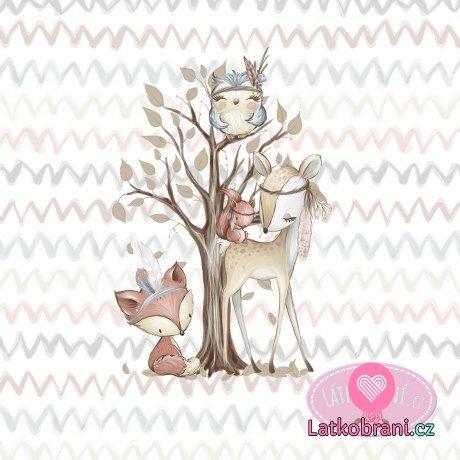 Bavlněný panel lesní zvířátka u stromu velký 100x158 cm