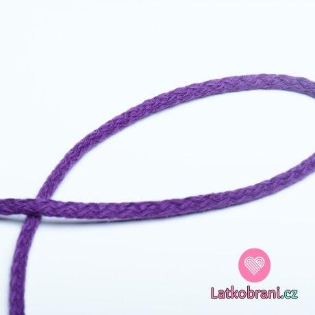 Šňůra kulatá oděvní bavlna 4 mm fialová