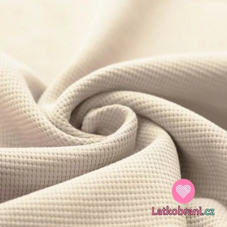 Bavlna s vaflovou vazbou jednobarevná béžová