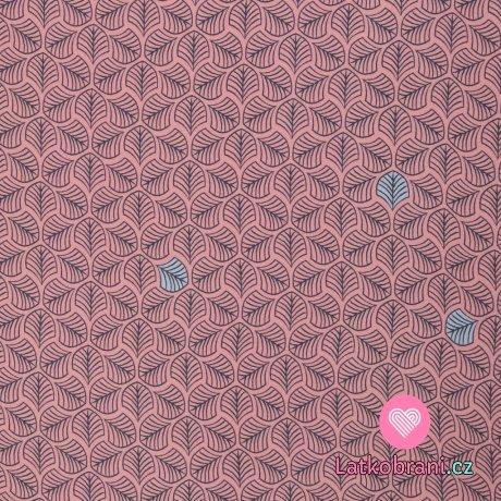 Viskóza potisk modré lístečky na růžové