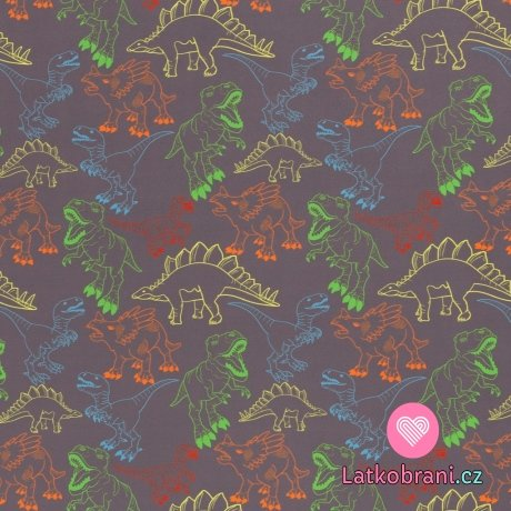 Softshell potisk barevní dinosauři na šedé