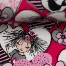 Úplet potisk slečna v srdíčku na růžové