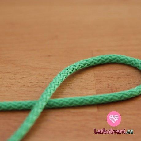 Šňůra kulatá oděvní PES 4 mm smaragdová světlá