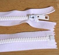 Zip kostěný dělitelný 65cm bílý