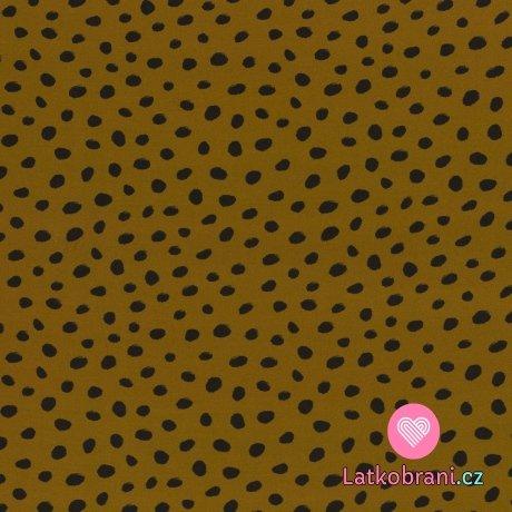 Viskóza potisk černé puntíky na okrové