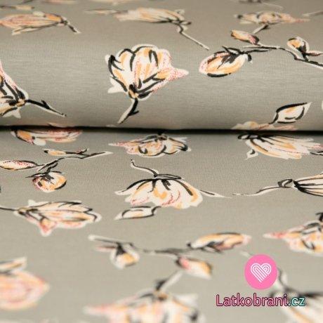 Úplet magnolie žluté třpytky na šedé světlé
