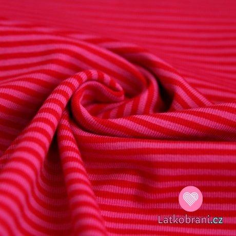 Úplet proužky sytě růžová s červenou (malé)