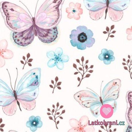 Teplákovina motýlci do fialova s květy na smetanové