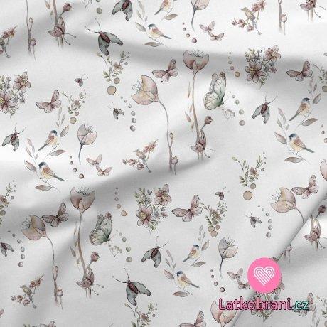 Teplákovina potisk ptáčci, motýli a můry mezi květinami