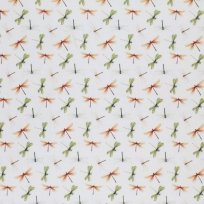 Úplet potisk bílé, oranžové a zelené vážky na bílé