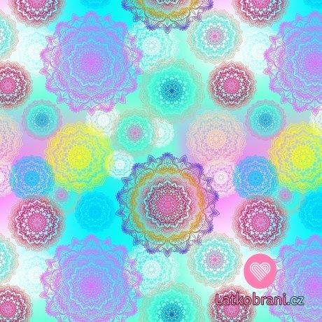 Úplet potisk barevné mandaly na duhovém podkladu